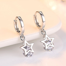 Fashion Silver Crystal stud Earrings for women five star zircon stud earring Women Jewelry Gift Accessaries fashion new arrival crystal star stud earrings for women girls cz zircon silver color five pointed star earrings party jewelry
