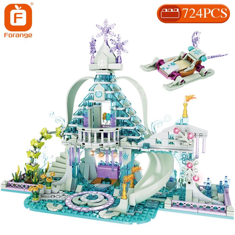 Forange Building Blocks Friends Girls Ice Snow Magic Castle  Carriage Princess Palace Brick Children Gift Toys