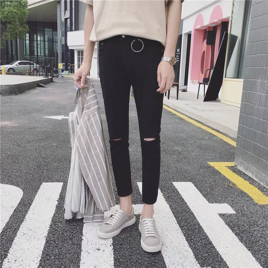 Teenager Black Jeans Men Beggar With Holes Skinny Pants Summer Thin Section Harem Slim Fit Capri Pants Sub-Fashion