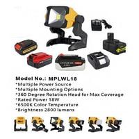 Lámpara de trabajo LED de 18W, luz de 2800 lúmenes alimentada por batería de litio de 18V de Dewalt makita Porter, Cable Black Decker Ryobi, adaptador de CA