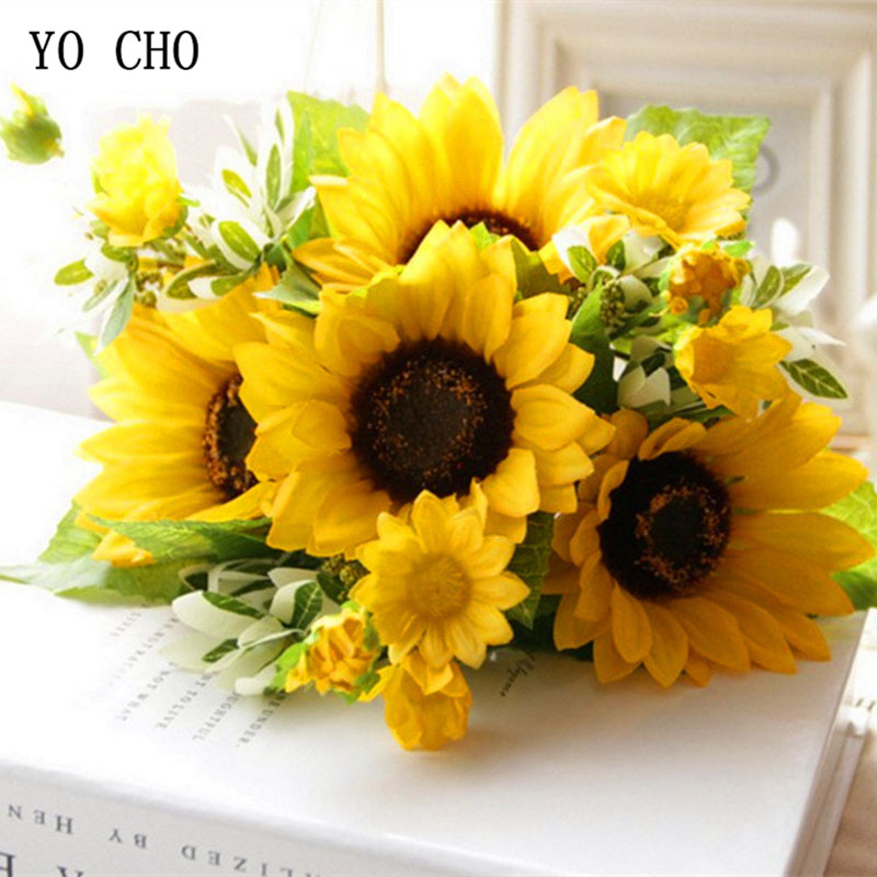 YO CHO Yellow Imitation Sunflower Branch Fake Sunflower Flore For Wedding Table Home Party New Year Decorative Artificial Flores