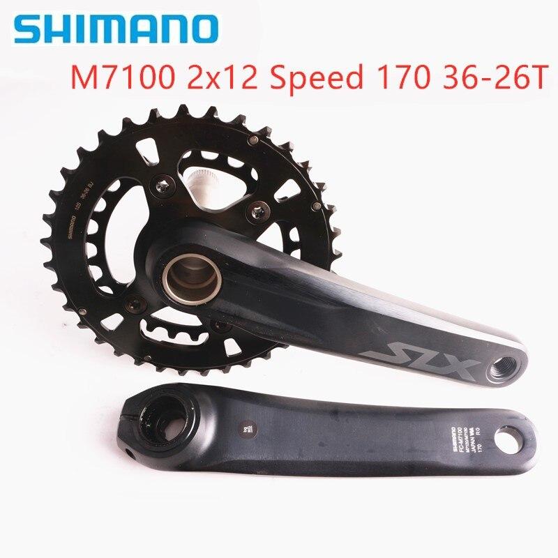 シマノ SLX M7100 170 175 2 × 12S 36 26T クランクセット MTB 自転車自転車クランクセットチェーンホイール 170 ミリメートル 36 26T MT800 とボトムブラケット - title=