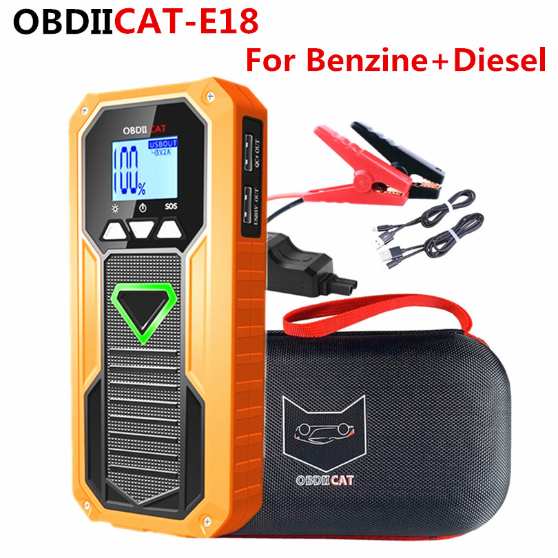 OBDIICAT E18 Multi-Function Car Jump Starter Device Power Bank Portable 12V 600A Peak Car Charger Car Truck Battery Booster
