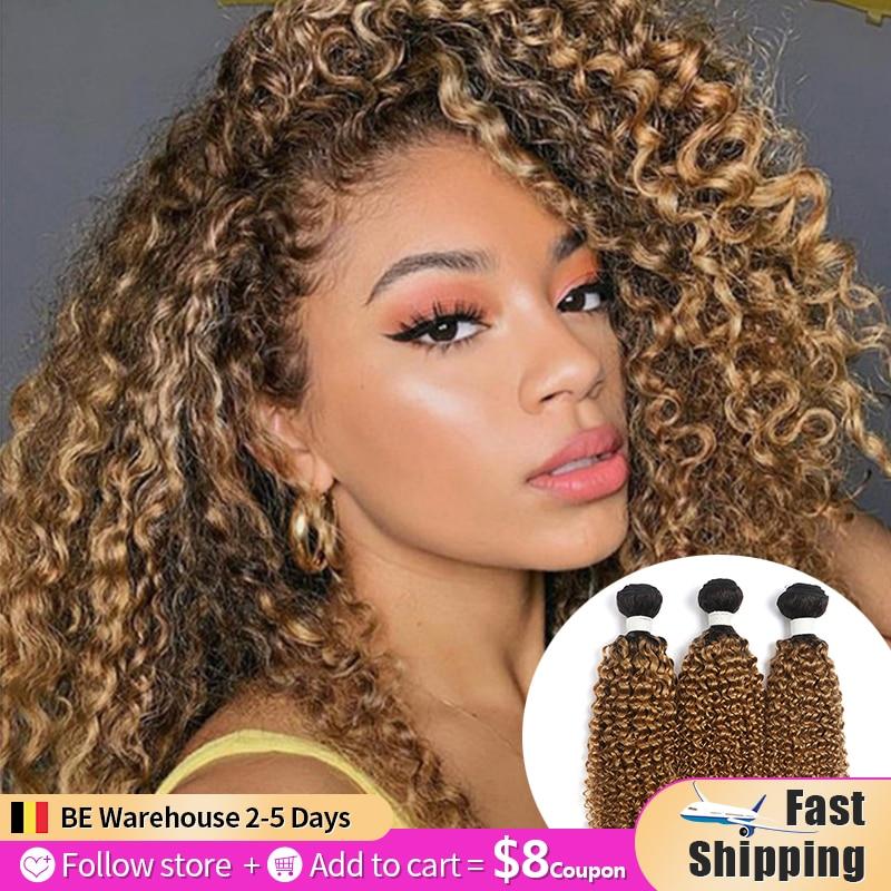 Кудрявый вьющиеся человеческие волосы пряди 8-26 дюймов эффектом деграде (переход от темного к наращивания блонд, коричневый, бразильские во...