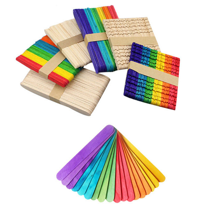 100Pcs DIY Wooden Stick Popsicle Ice Cream Sticks Colorful Hand Crafts Art Creative Educational Toys For Children Kids Baby
