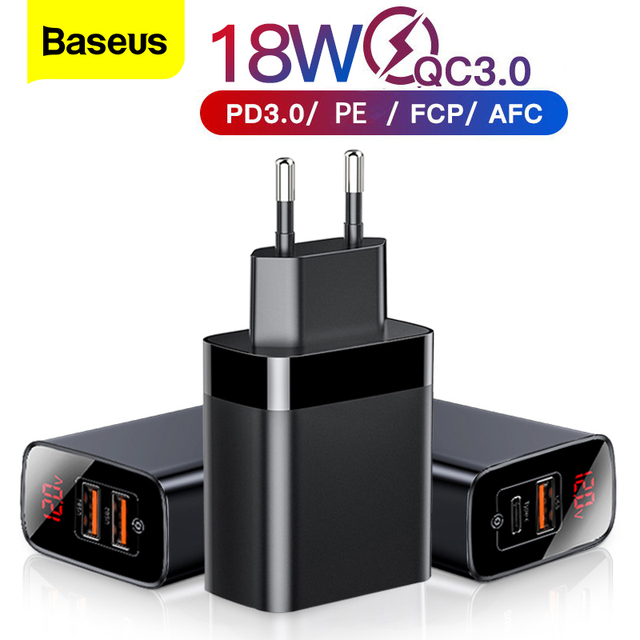Baseus Digital Display Quick Charge 3.0 USB Charger 18W PD 3.0 Fast Charger for iPhone 12 pro max 11 Charger Phone USB C Charger