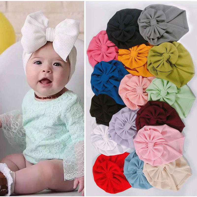 Большой бант с бантом для маленьких девочек шляпа для фотографирования новорожденных реквизит Твердые Цвет детская шапка тюрбан узел голо...