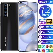 Global Version Nowa7 SE 7.2 Inch Smartphone 4K HD Full Screen 12+512GB 5800mAh Support Fingerprint Unlock Face ID 5G Mobilephone
