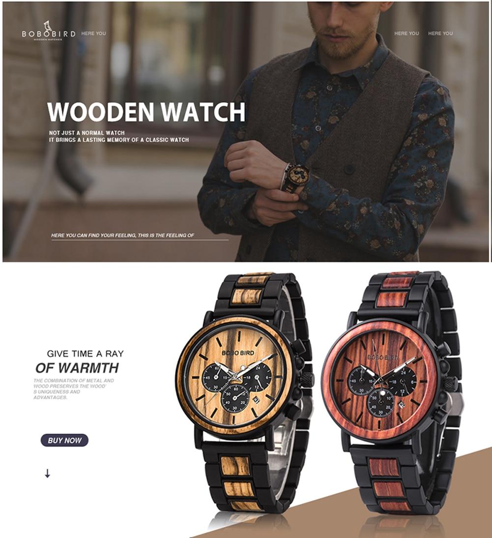H49db8eba72cc410fb02f24f39fbb9a4eh BOBO BIRD Wooden Watch Men erkek kol saati Luxury Stylish Wood Timepieces Chronograph Military Quartz Watches in Wood Gift Box