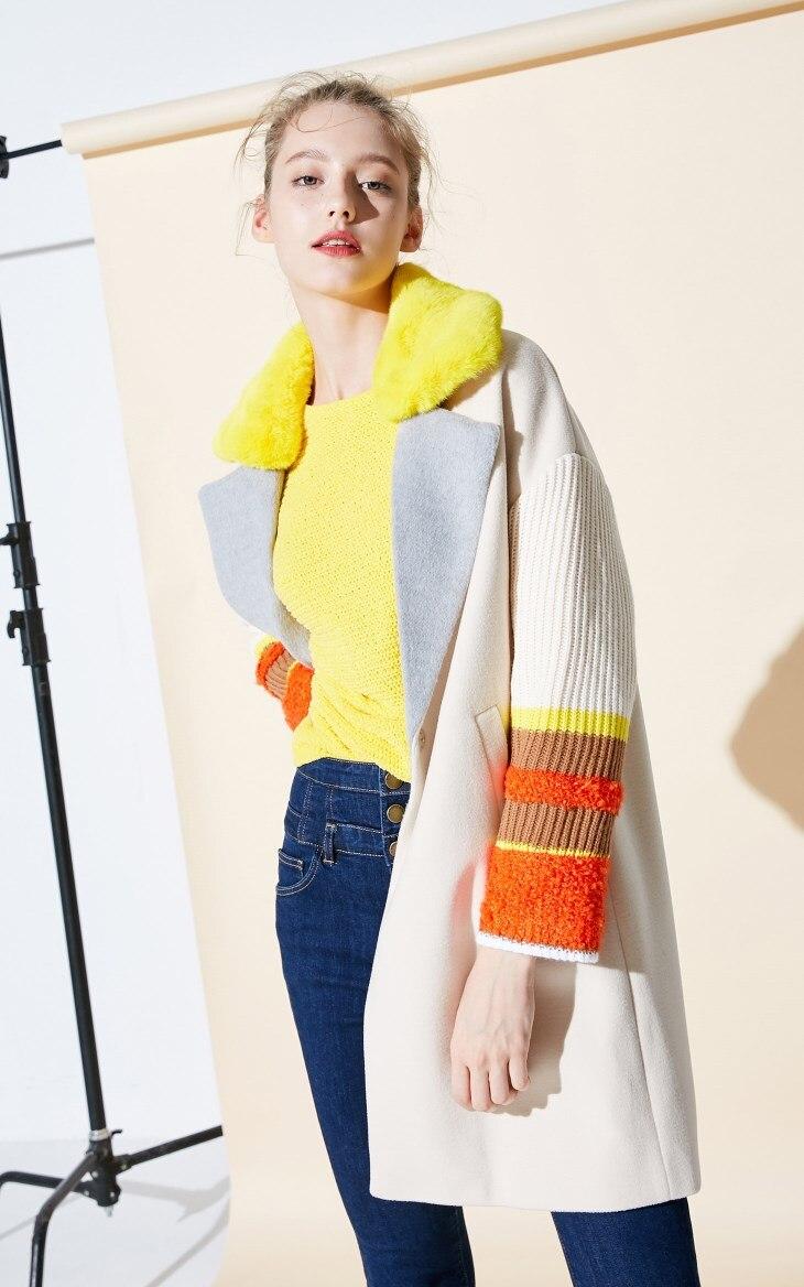 Vero Moda Women's New Stitching Color Matching Detachable Fur Collar Coat  318409504 11