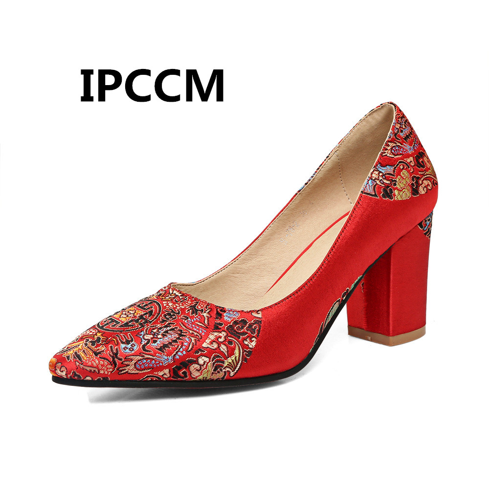 IPCCM Female 2018 Autumn Red Chinese Totem Wedding Shoes Pointed Thick With Bridal Shoe Shallow Mouth Toast Shoes