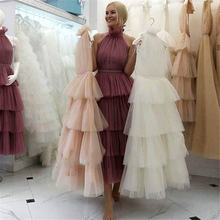 Женское длинное вечернее платье Многоярусное Тюлевое трапециевидной