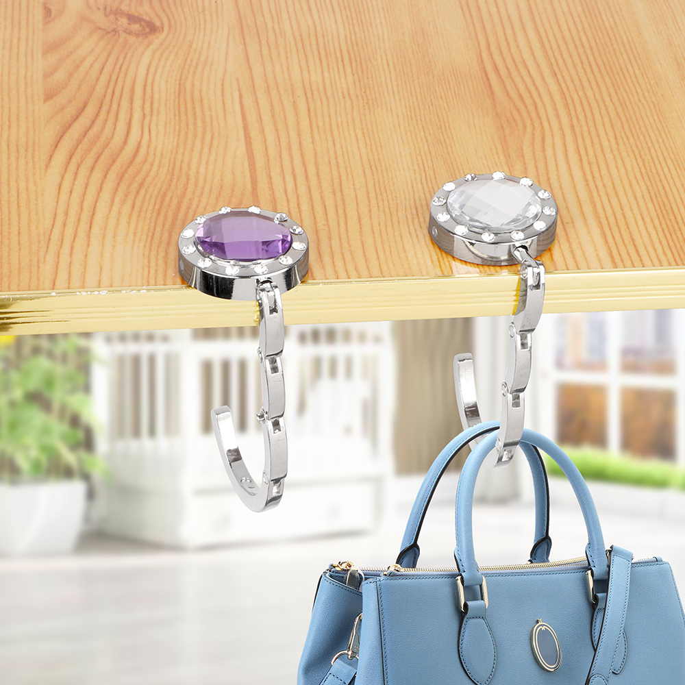 Desk Hanger Purse Bag Hook Holder 3 Colors Foldable Hangbag Hook Portable For Hanging Crystal Alloy   Table Hook