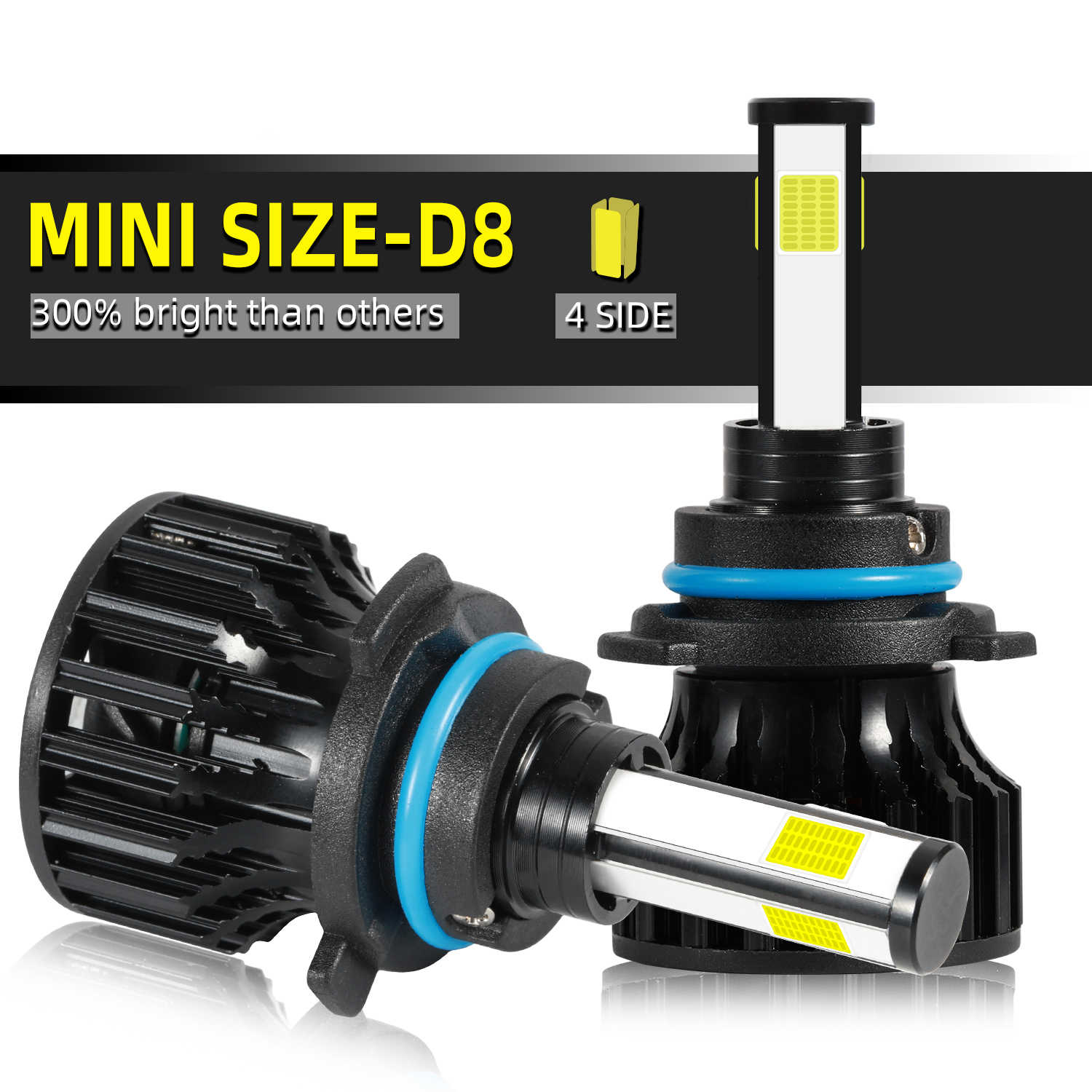 Mini Car Headlight H7 LED H11 LED 9006 9005 4 Side Bulb Car Headlight Fog Lamp 6500k 72W 8000 LM car accessries