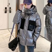 Stojak kołnierz błyszcząca damska długa zimowa kurtka w stylu koreańskim Patchworka kobieta zimny płaszcz gruba luźna bawełniana wyściełana błyszcząca parki tanie tanio YSBFALNZ CN (pochodzenie) Zima vintage Dla osób w wieku 18-35 lat zipper snow coat jacket Pełne COTTON POLIESTER Z wypełnieniem SUSTANS