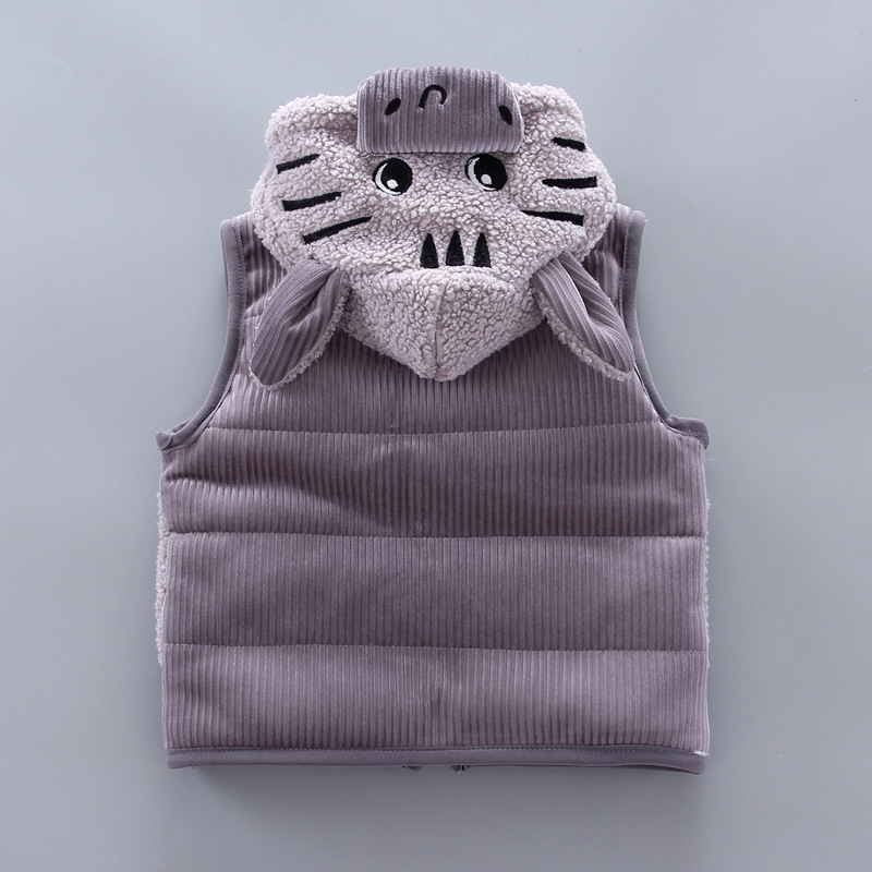 Children's lamb wool warm clothes winter baby boy clothes baby girl cartoon cat plus velvet thick hooded sweater 3-piece set 6