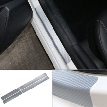 Car Carbon Fiber Threshold Stickers Door Kick Protection Sticker protective Strip For Mitsubishi Outlander Car Accessories car accessories car sticker stainless steel slim for outlander wording 3d letter sticker trim for mitsubishi outlander