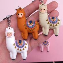 2019 Hot Cartoon Alpaca Key chain Male And Female zodiac Keychains imitation Animal Jewelry Birthday Gift Ring