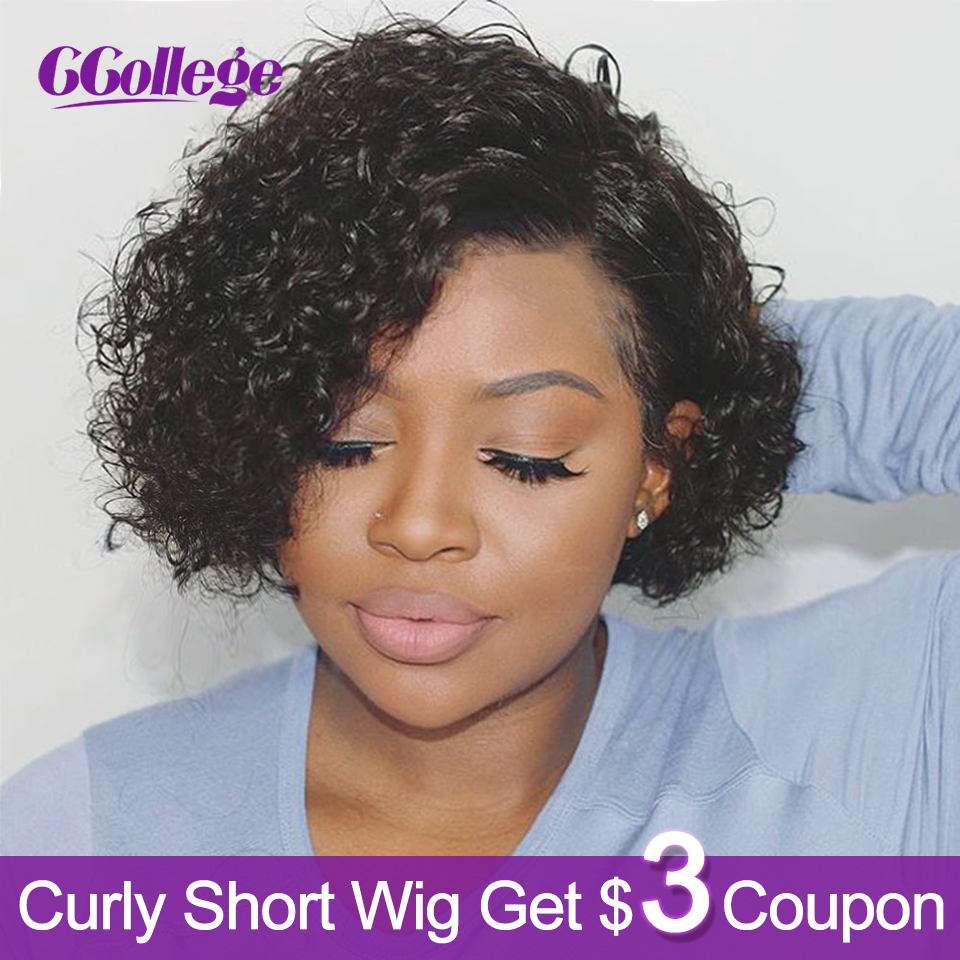 Ccollege Curly Wave Short Wigs Human Hair For Black Women Brazilian Hair Wig 130% Density Color #2 & #30 Non-Remy Free Shipping