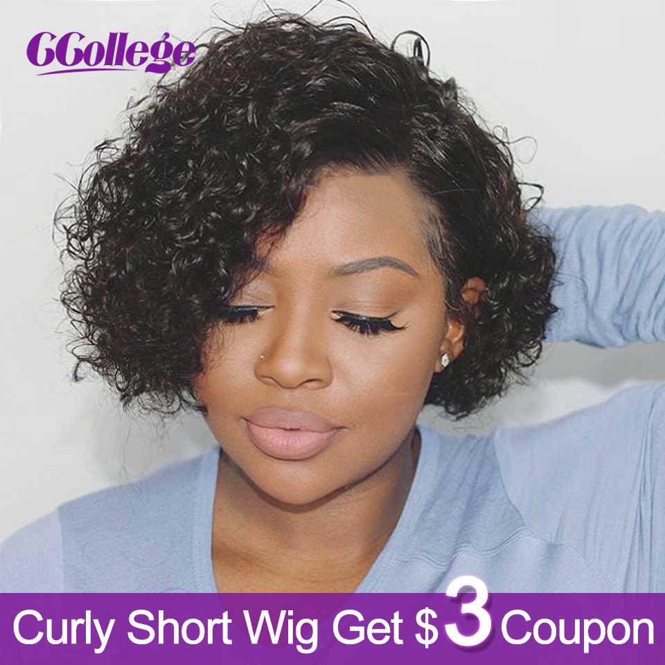 Ccollege pelucas rizadas de onda corta cabello humano Remy para mujeres negras Peluca de pelo brasileño corte Pixie Bob pelucas sin encaje Color #2 y #30