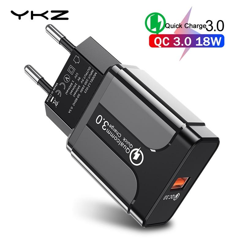 YKZ USB зарядное устройство Быстрая зарядка 3,0 QC3.0 Быстрая зарядка EU вилка зарядное устройство для мобильного телефона для iPhone Samsung Xiaomi QC 3 0 Новинка