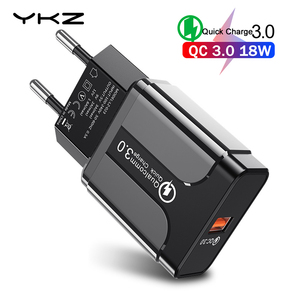 YKZ USB Charger Quick Charge 3.0 QC3.0 Fast Charging EU Plug Mobile Phone Charger for iPhone Samsung Xiaomi QC 3 0 New