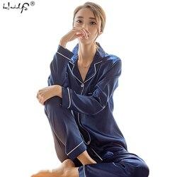 Женская шелковая атласная пижама, пижамный комплект с длинными рукавами, пижама, Пижамный костюм, женский пижамный комплект из двух предмет...