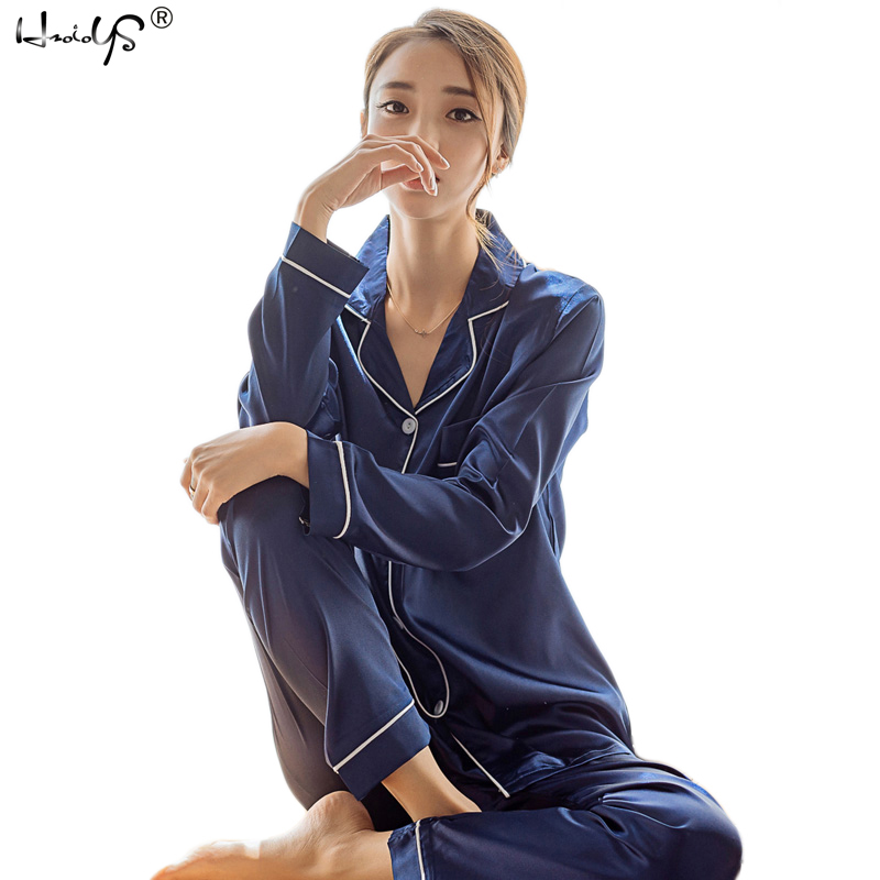 Femmes soie Satin Pyjamas Pyjamas ensemble à manches longues vêtements de nuit Pijama Pyjamas costume femme sommeil deux pièces ensemble vêtements de détente grande taille