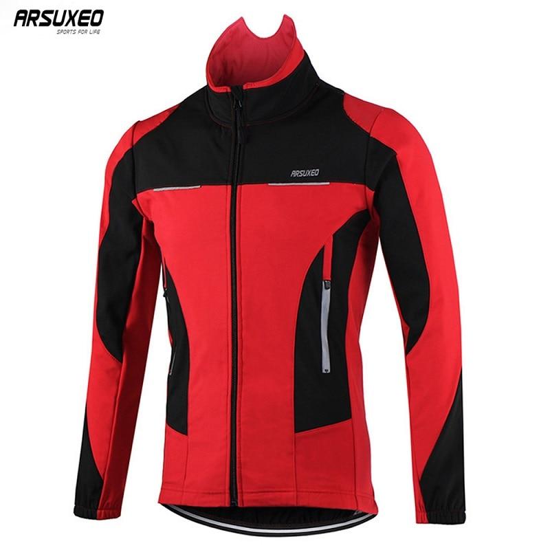 ARSUXEO mężczyźni zima termiczna kurtka rowerowa wiatroszczelna wodoodporny rower górski kurtka sport Softshell płaszcz odzież rowerowa odblaskowa w Kurtki rowerowe od Sport i rozrywka na title=