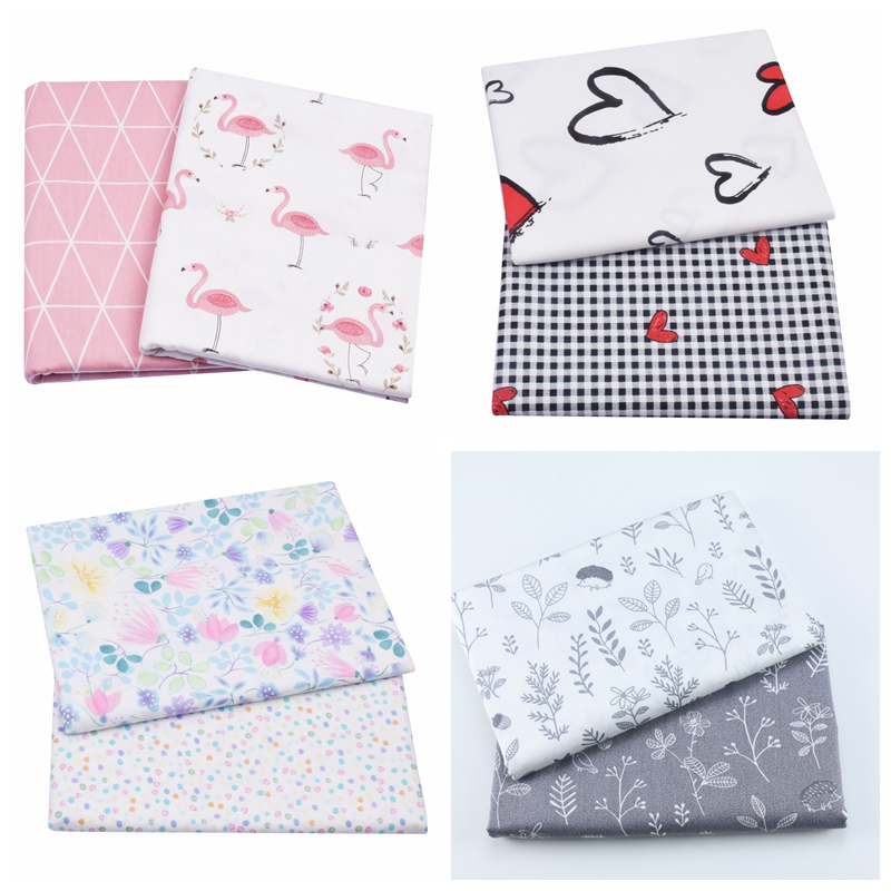 2PCS Floral Leaves,Heart Plaid Twill 100% Cotton Fabric,Patchwork Cloth,Sewing Quilting Fat Quarters Material For Baby&Child