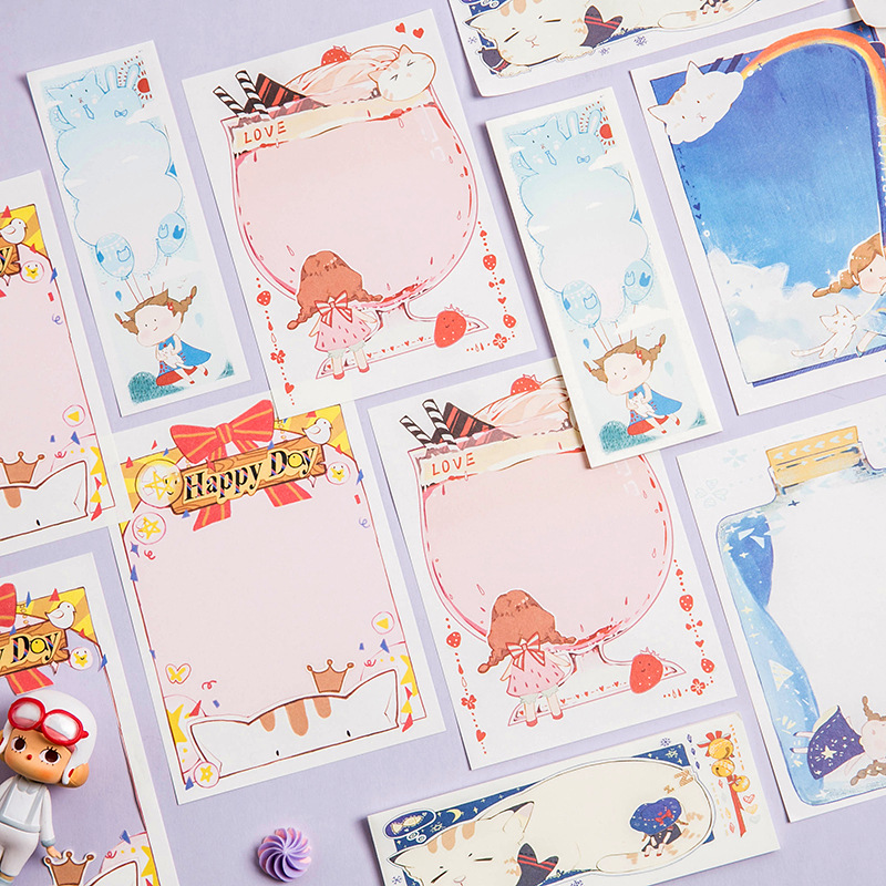 30sheets Cute Cartoon Creative Convenience Post Guestbook Memo Pad Office Memo Sheets Stationery Kawaii No Stickiness