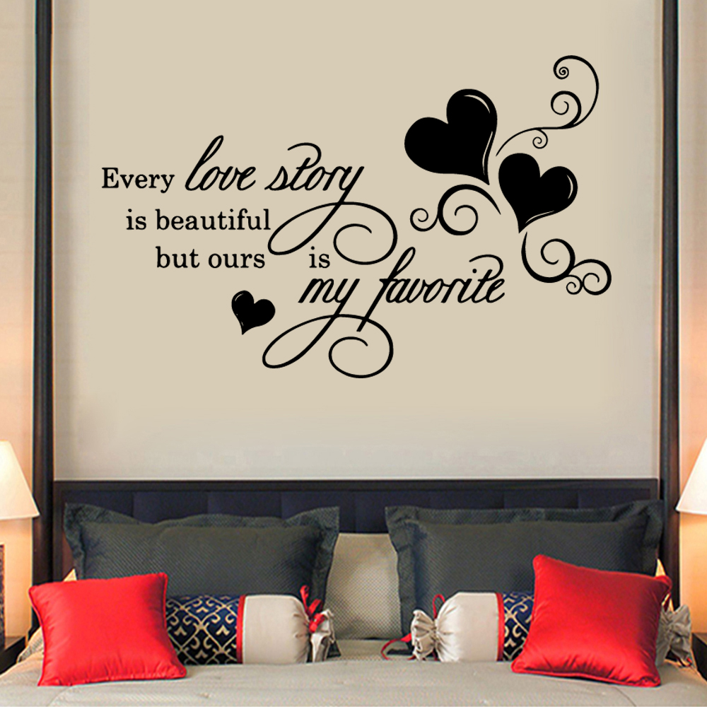 Frase Wall Decal Every Love Story Is Beautiful Quote Sticker For Bedroom Decor Text Wall Sticker Decals Wallpaper muurstickers