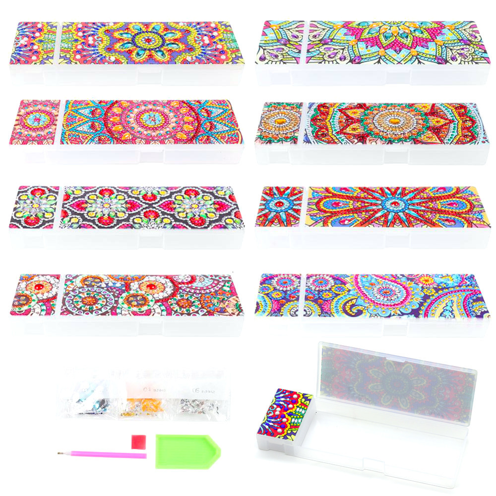 5D DIY Mandala Special Shaped Diamond Painting 2 Grids Stationery Box Storage
