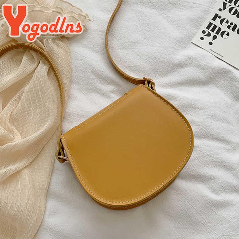 Yogodlns Fashion Baru Wanita Crossbody Tas Bahu Retro Pelana PU Kulit Kecil Dompet Wanita Murni Warna Tas