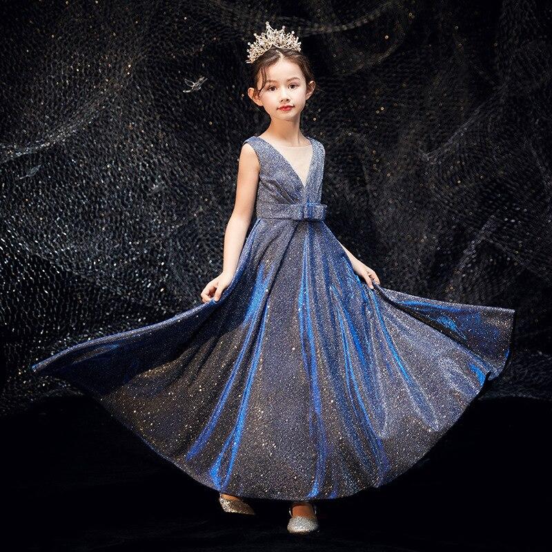 Children Evening Gown Girls Princess Skirt Puffy Yarn Model Catwalks Piano Performance Wear Little Girl Performance Western Styl