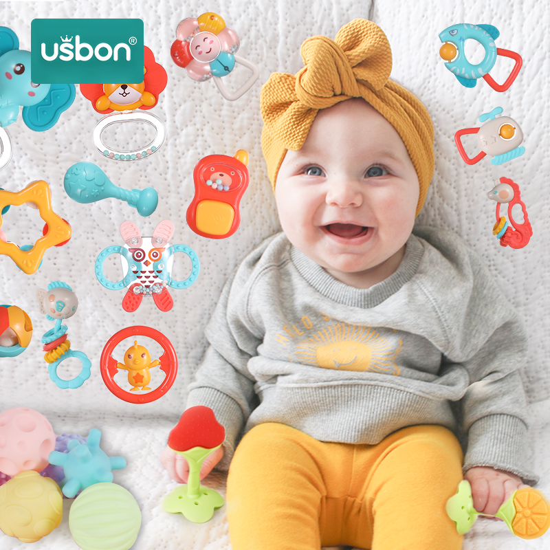 Usbon 5/9/10/12PCS Baby Rattle Teether Bell Toys Animal Carton Infant Hand Set for Newborn Plastic Toddler Gift Educational