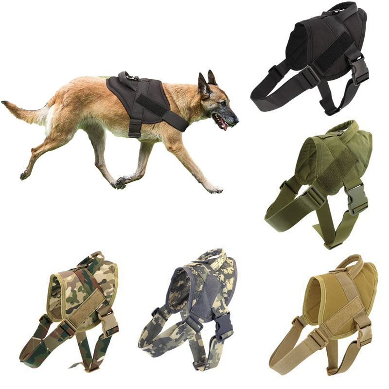 Tactical Dog Vest Breathable Adjustable Pet Harness For Medium Large Dog Cat Supplies Outdoor Military Dogs Training Harness