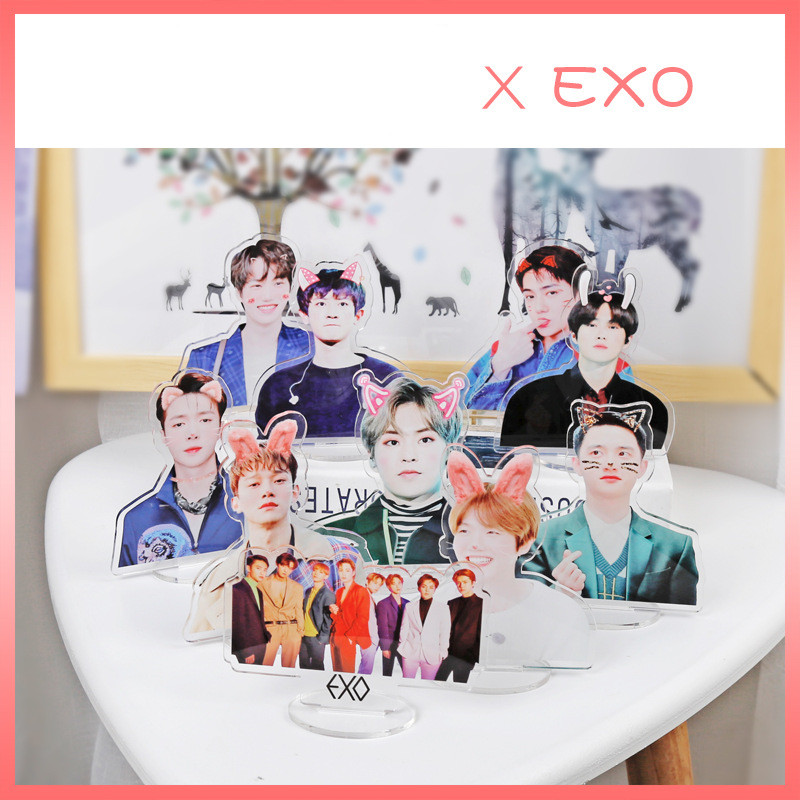 1 Pcs Kpop EXO Members BAEKHYUN CHANYEOL SEHUN Cute Standing Action Figure Doll Acrylic Stand Action