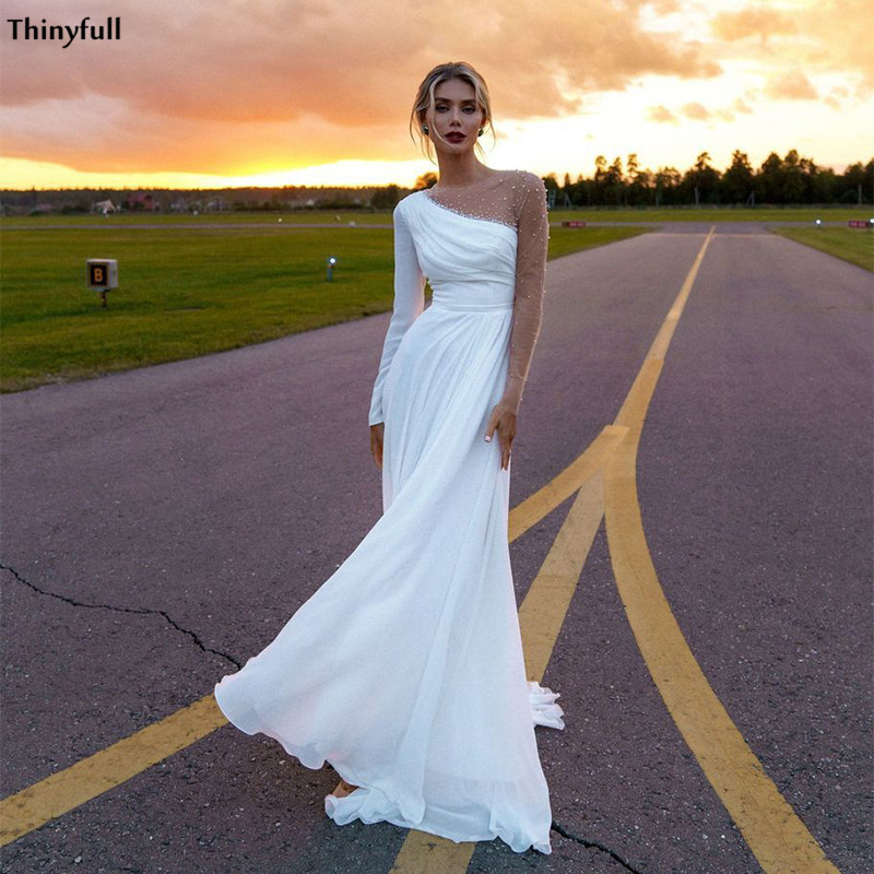 Thinyfull Long Sleeves Beach Wedding Dresses Illusion Pearls Beaded Boho Mariage Gowns With Side Split A Line Robe De Mariee