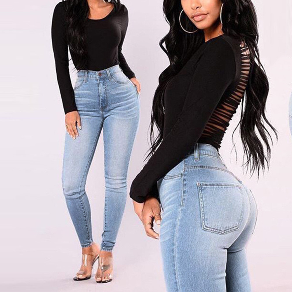 Newest Arrivals Jeans High Waist Stretch Jeans Women Lady Denim Skinny Pants Slim Pencil Jeans Women Casual Jeans ##5