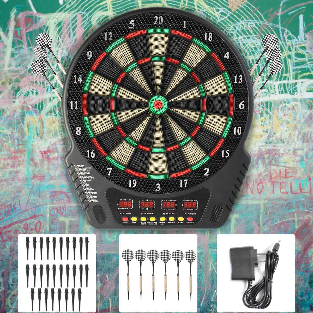 230V 18 Inch Professional Electronic Dart Board Bullseye 4 LED Display Play Methods With Electronic Dart Plastic Head Adapter