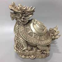 Cinese Del Tibet Argento Bronzo Intagliare D'oro Tartaruga Longevità Tartaruga Ricchezza Fortuna Buona Fortuna Geomanzia Decorazione