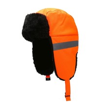 Bomber Hats Winter Short Reflective Windproof Thermal Fluffy Knitted Headwear With Ear Flap Chin Strap(China)