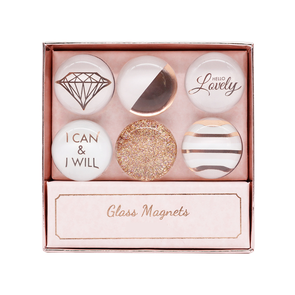 Rose Gold Fridge Magnets 6 Pack Round Glass Refrigerator Magnet Sticker Use At Home Kitchen School Office For Refrigerator Dry Erase Board And Whiteboard Gift Idea
