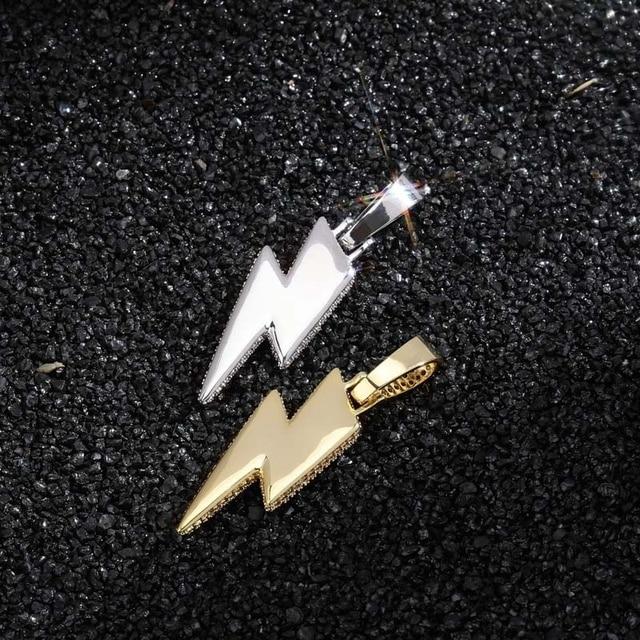 2021 Jewelry Fashion Retro Full Zircon Lightning Necklace Men's Hip Hop Party Locomotive Accessories Pendant Necklace Jewelry 6