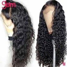Peluca de ondas al agua con encaje Frontal, pelucas de cabello humano malayo, Remy, peluca de onda de encaje Frontal de agua de 30 pulgadas, 4x4, pelucas con cierre de encaje
