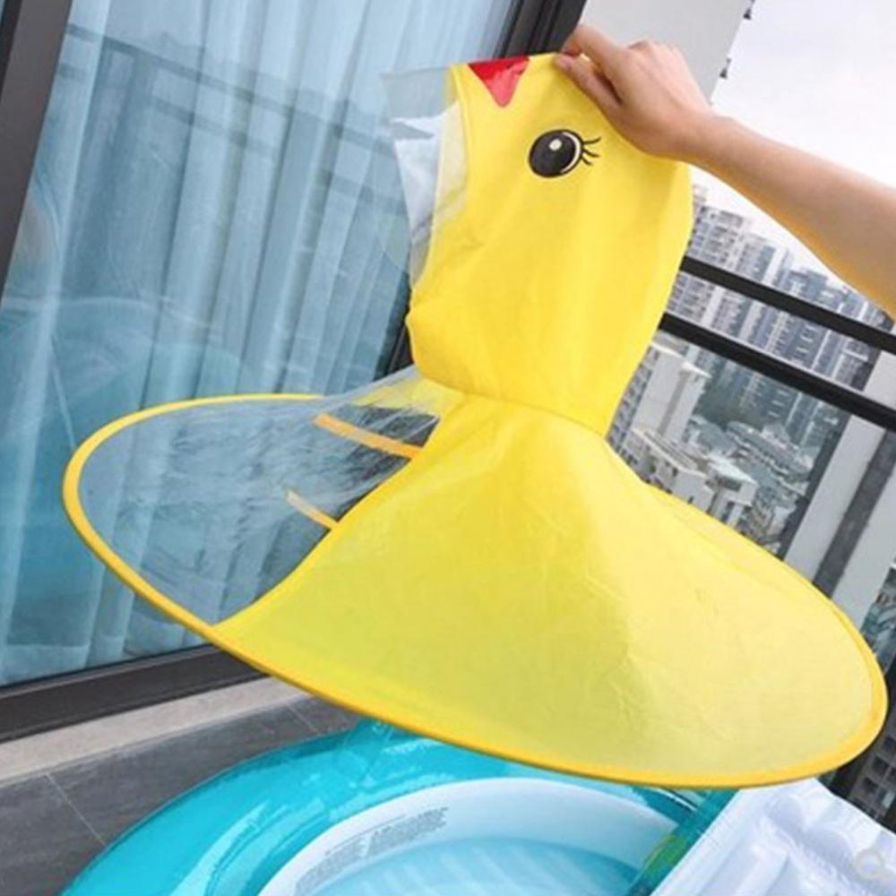 Creative Cartoon Duck Rain Hat UFO Windproof Poncho Foldable Children Raincoat Umbrella Cape Cute Rain Coat Cloak for Boys Girls