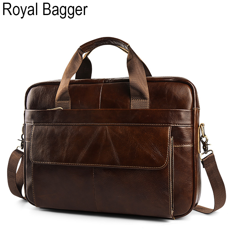 Royal Bagger Laptop Briefcase Handbag For Men Genuine Cow Leather Retro Business Big Shoulder Bag Casual High Capacity Outdoor