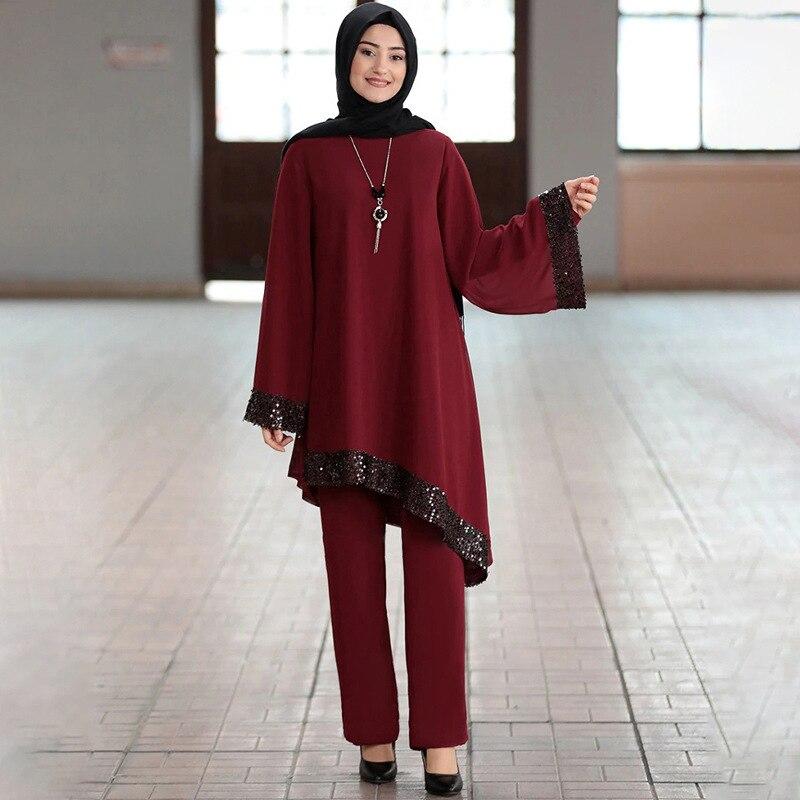 Ramadan 2 Piece Set Muslim Women Turkey Asymmetry Abaya Blouse Wide Leg Pants Kaftan Eid Suits