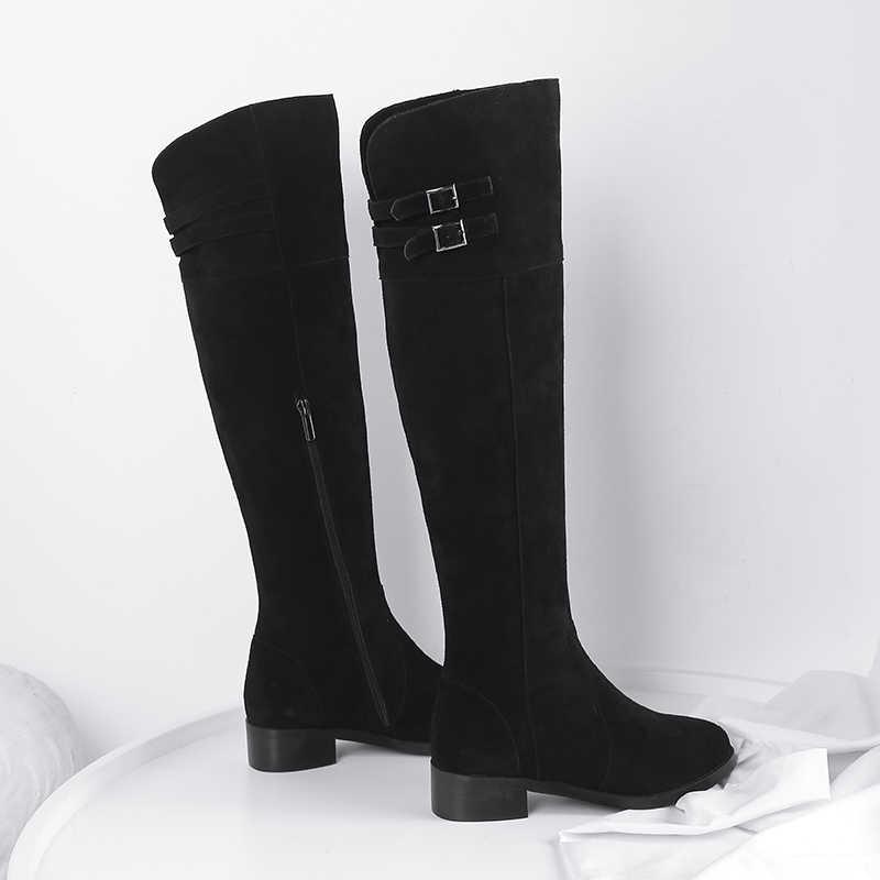 Antiskid แบนต้นขาสูงรองเท้าบูทบูทเหนือเข่าสีดำผู้หญิงเต็มรูปแบบหนังนิ่มหนังแท้ Knee ฤดูหนาวสูง LDI04 MUYISEXI